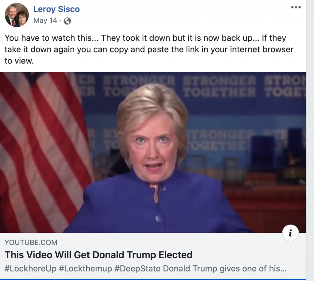 """Leroy Sisco write """"you have to watch this"""" when sharing QAnon content"""