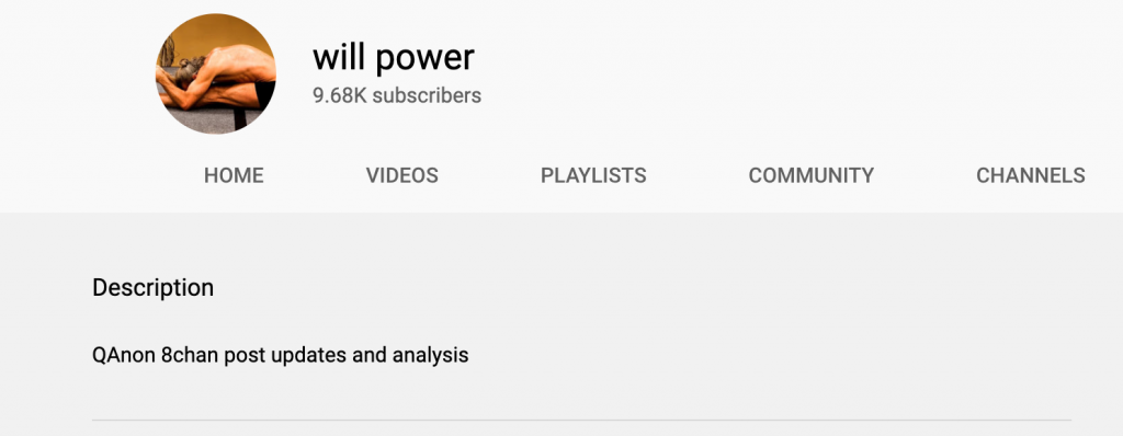 YouTube channel's description is QAnon analysis