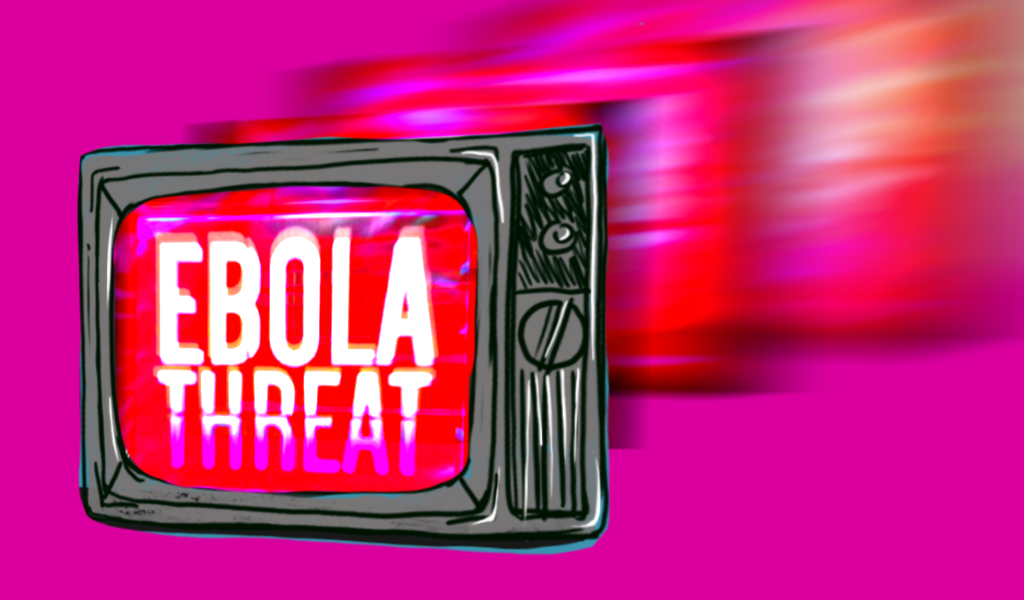 """Television with """"Ebola Threat"""" text on it"""