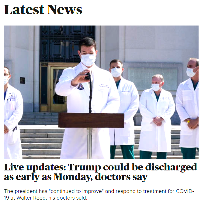 "CBS News: ""Live updates: Trump could be discharged as early as Monday, doctors say"""