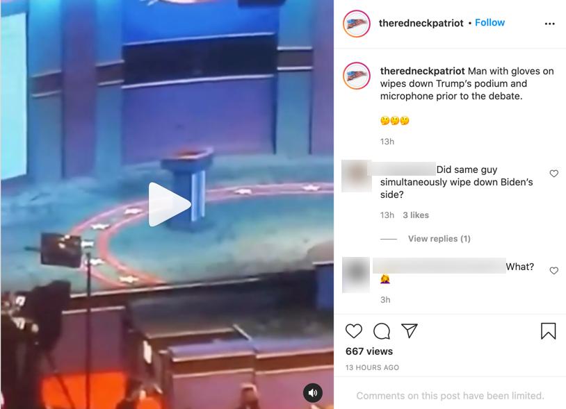 Trump debate coronavirus Instagram