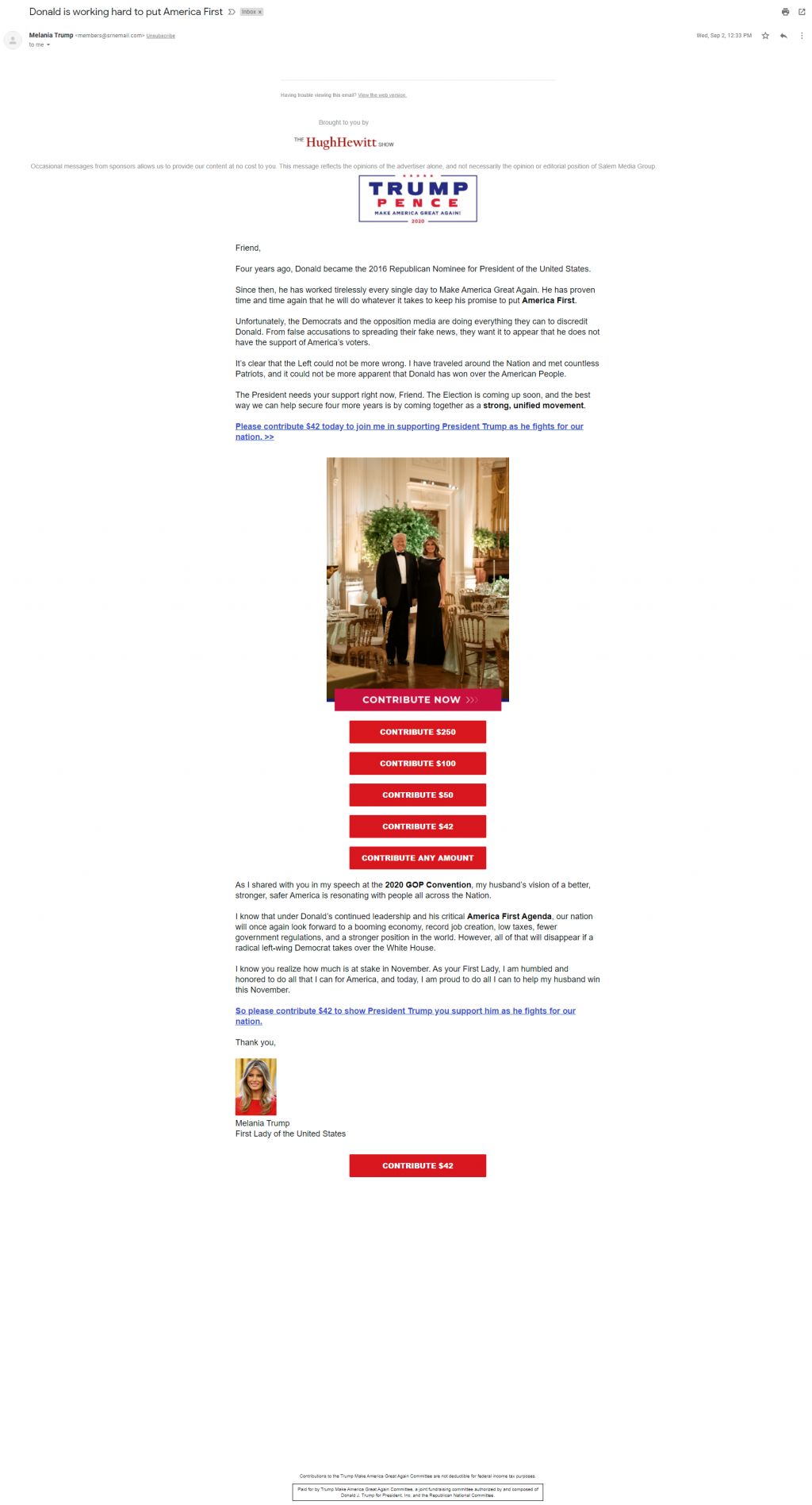 An image of The Hugh Hewitt Show's Trump Make America Great Again Committee email on September 2