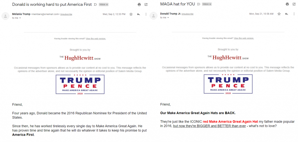 An image of The Hugh Hewitt Show's Trump emails, composite