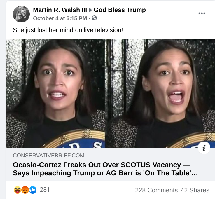 Facebook post in God Bless Trump FB group