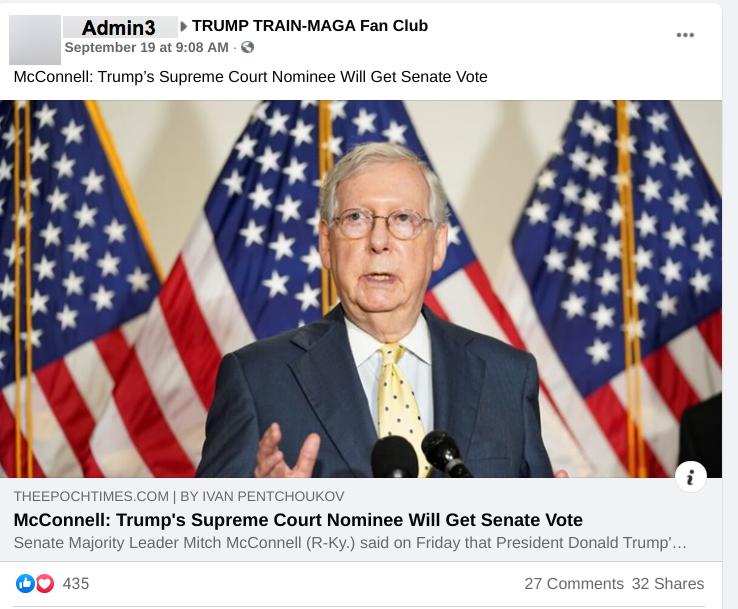 Facebook post in TRUMP TRAIN-MAGA Fan Club FB group