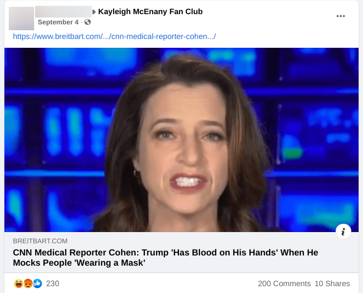 Facebook post in Kayleigh McEnany Fan Club FB group