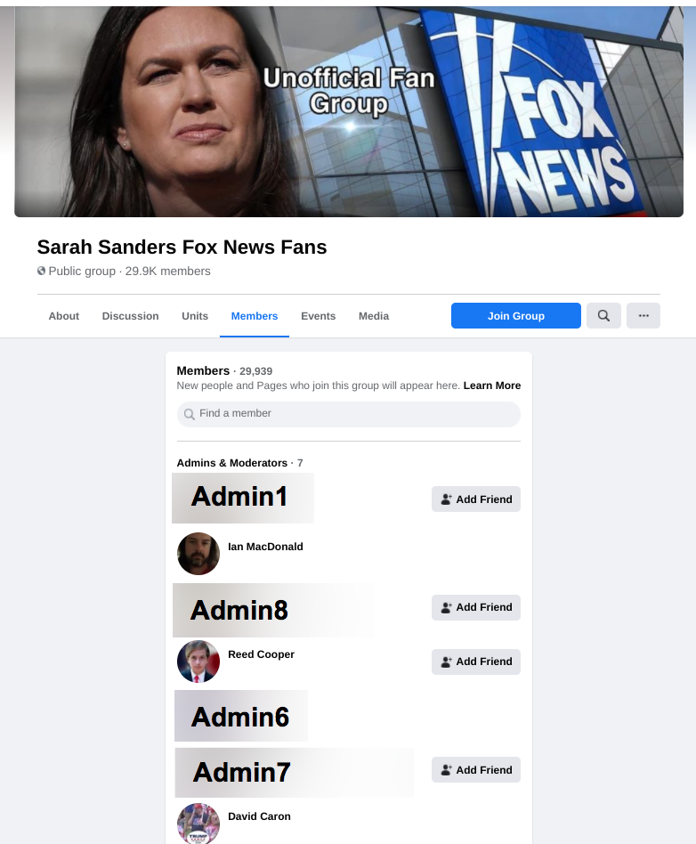 Image of Sarah Sanders Fox News Fans Facebook group