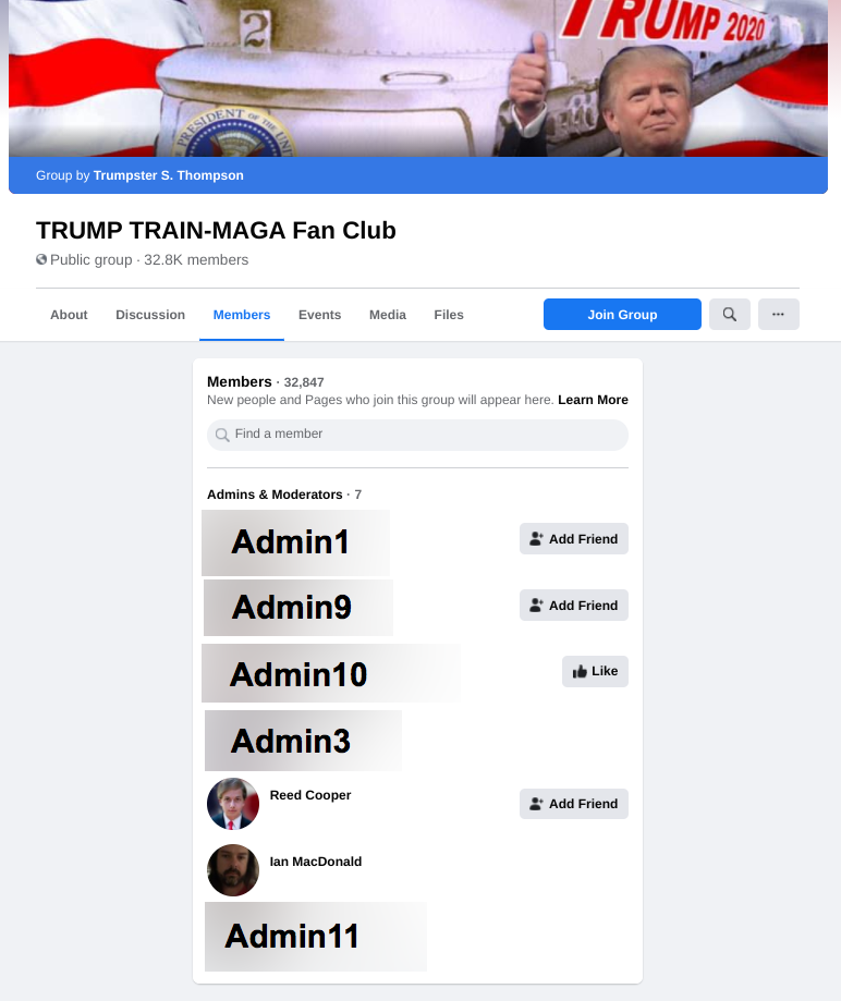 Image of TRUMP TRAIN-MAGA Fan Club FB group