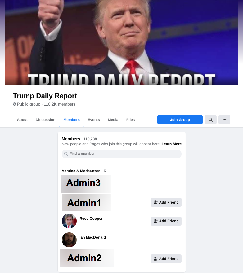 Image of Trump Daily Report FB group