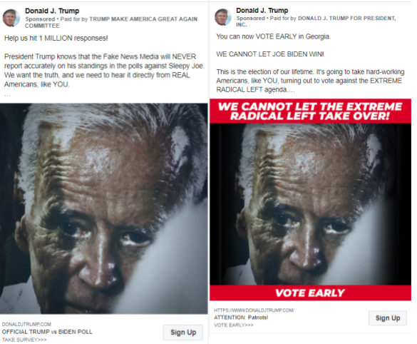Image of Facebook ads with edited images