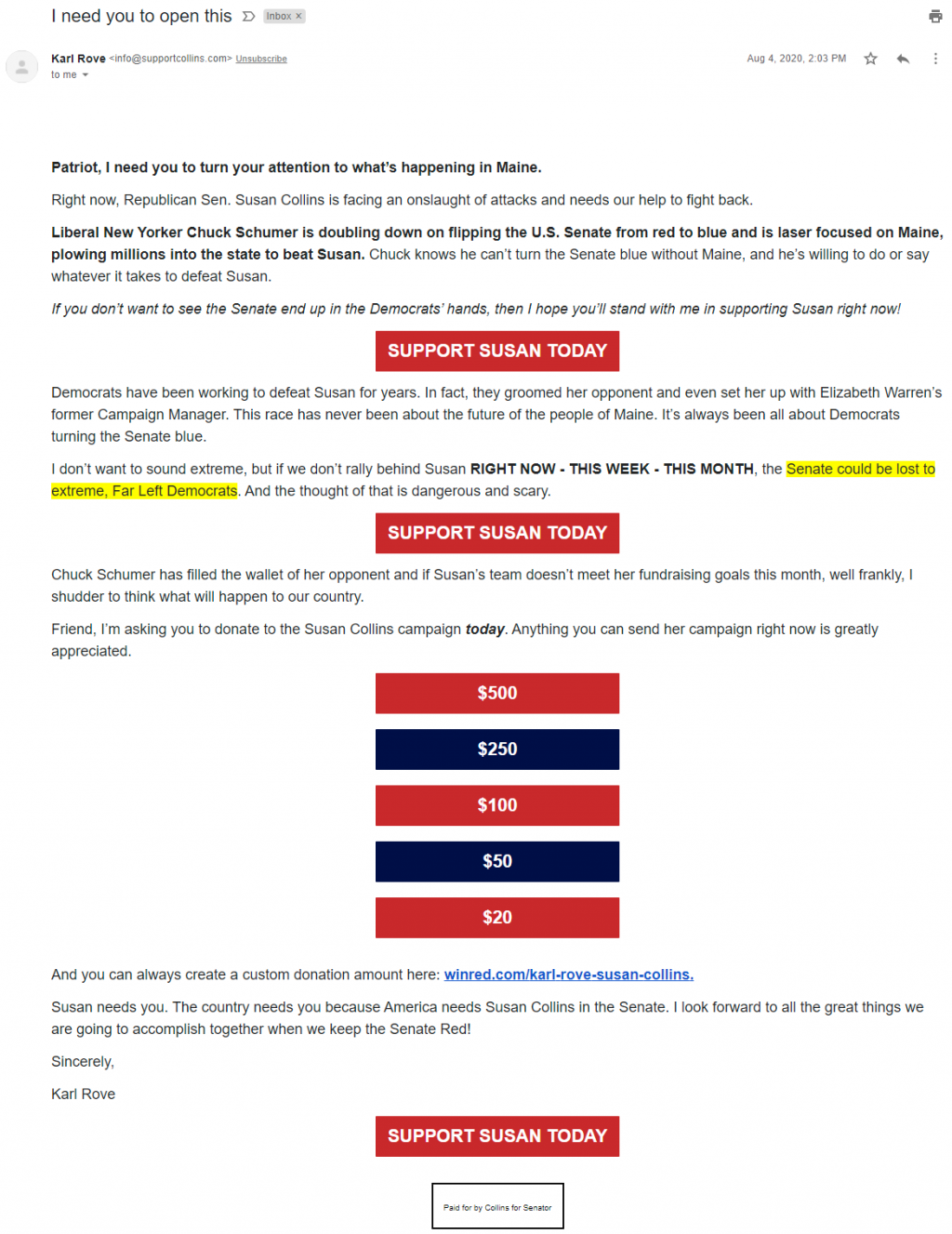 An image of Karl Rove's email for Susan Collins (August 4, 2020)