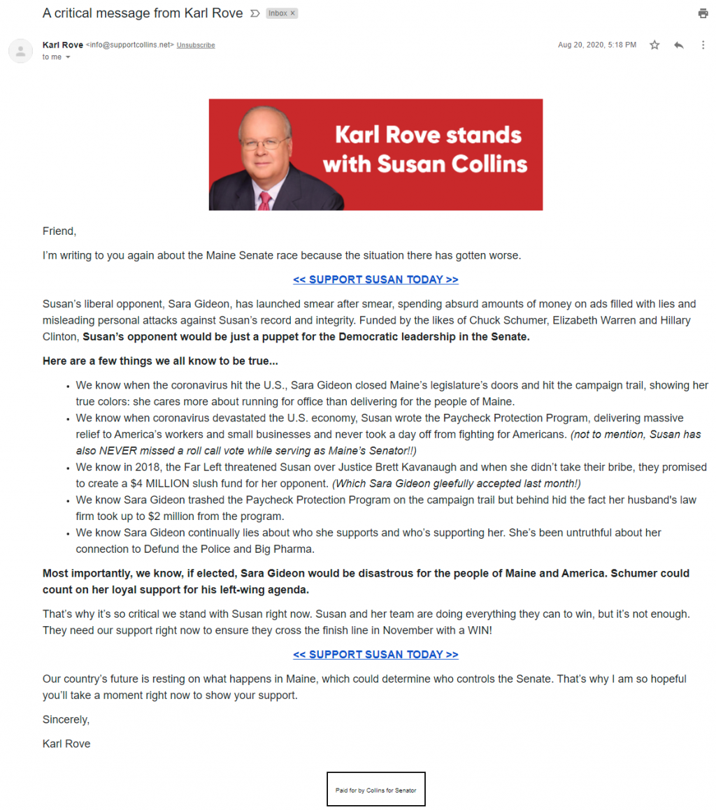 An image of Karl Rove's email for Susan Collins (August 20, 2020)