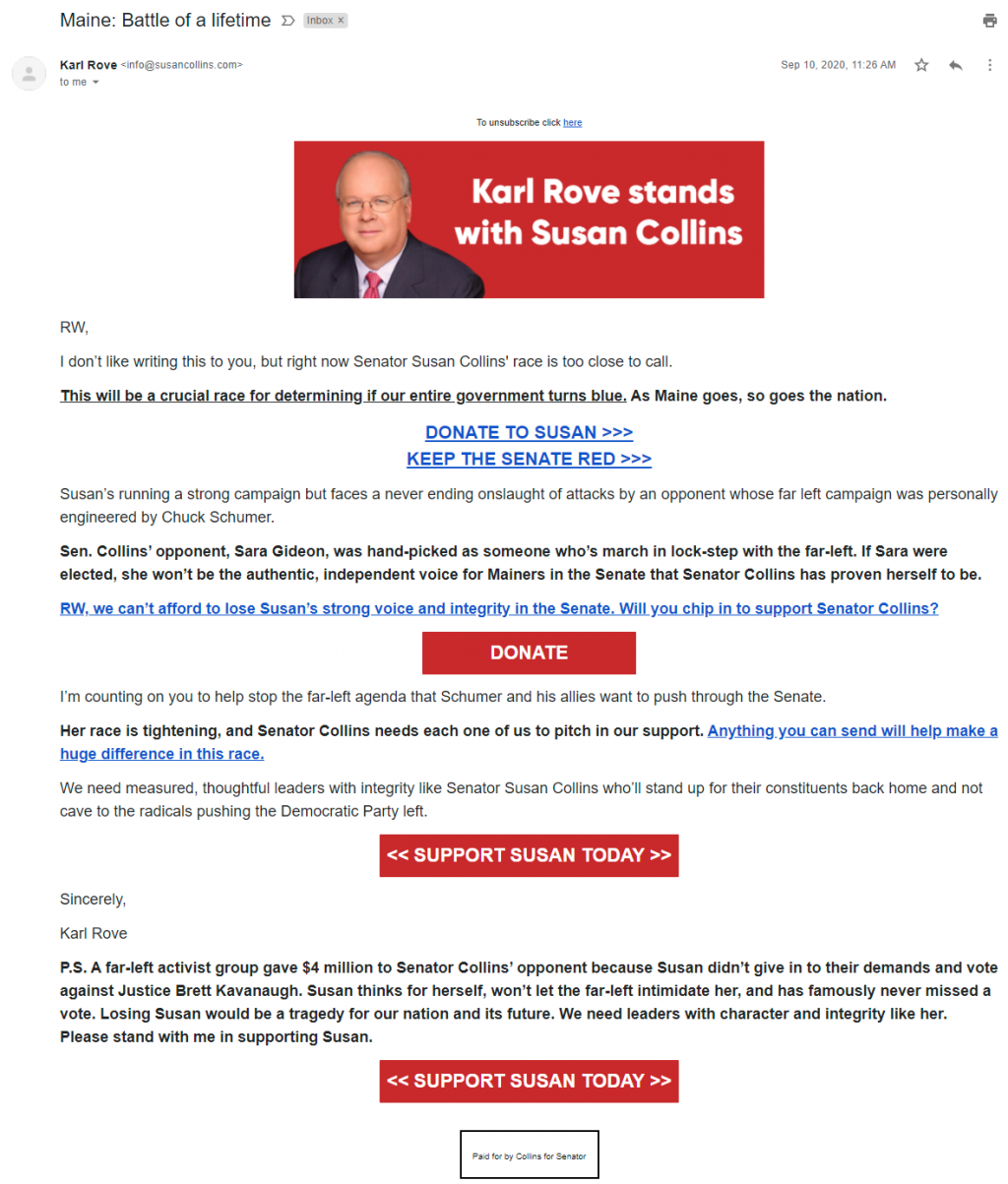 Karl Rove's email for Susan Collins (September 10, 2020)