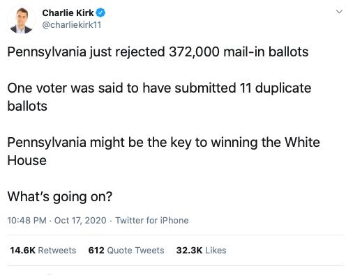 Charlie Kirk PA Ballots