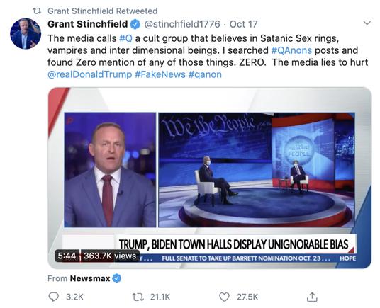 Grant Stinchfield defends QAnon
