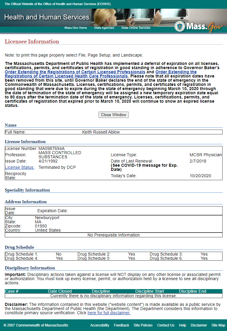 An image of Keith Ablow's medical license status (10/20/20)