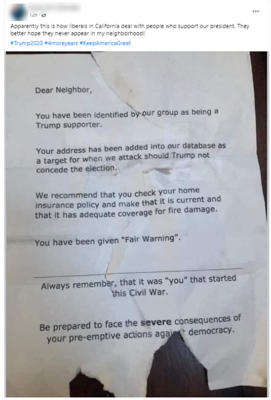 Image of Facebook post holding the California flier