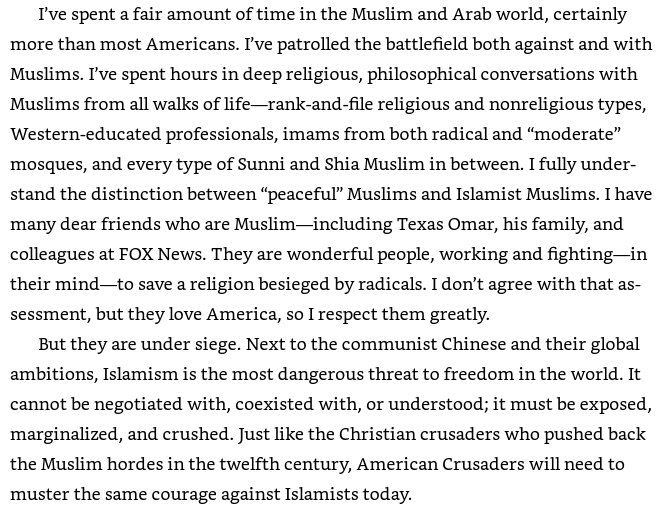 "An image from Pete Hegseth's book: ""Just like the Christian crusaders who pushed back the Muslim hordes in the twelfth century, American Crusaders will need to muster the same courage against Islamists today."""