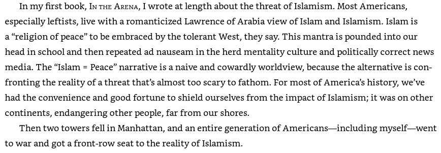 "An image from Pete Hegseth's book: ""The 'Islam = Peace' narrative is a naive and cowardly worldview."""