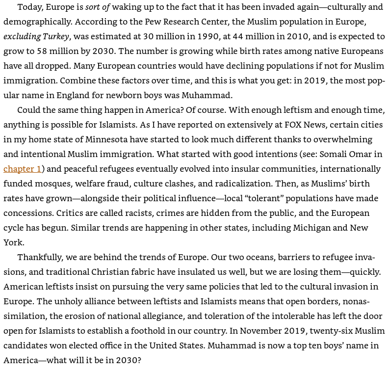 """An image from Pete Hegseth's book: Hegseth warned about """"Muslims' birth rates"""" in Michigan and the number of Muslim candidates who have won political office."""