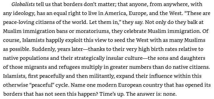 "An image from Pete Hegseth's book: Hegseth complained that ""Islamists happily exploit this view [Muslim immigration] to seed the West with as many Muslims as possible."""