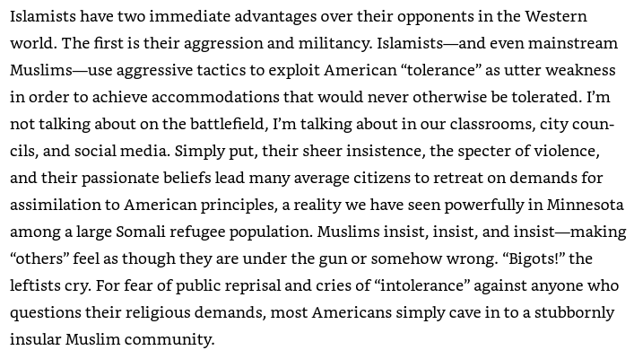 An image from Pete Hegseth's book: Hegseth criticized tolerance of Muslims.