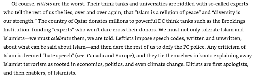 """An image from Pete Hegseth's book: Hegseth complained that """"we must not only tolerate Islam and Islamists—we must celebrate them, we are told."""""""