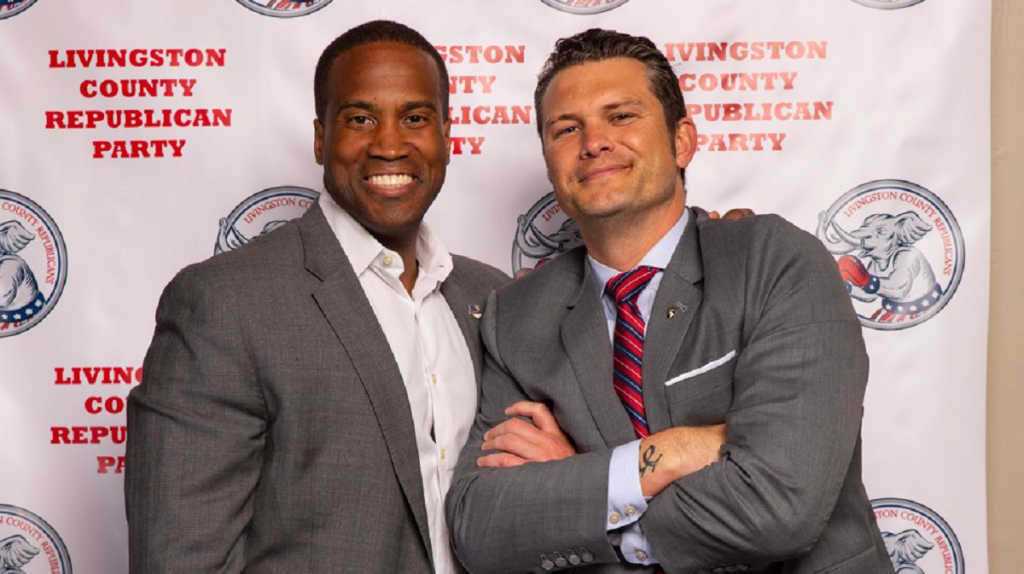 An image of John James and Pete Hegseth at a GOP fundraiser