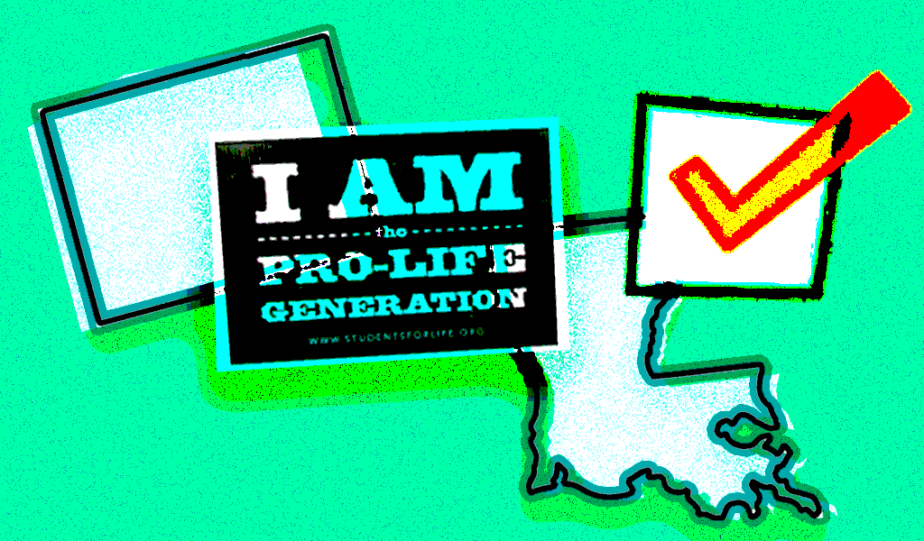 A picture of Colorado and Louisiana with voting check box and an anti-abortion sign