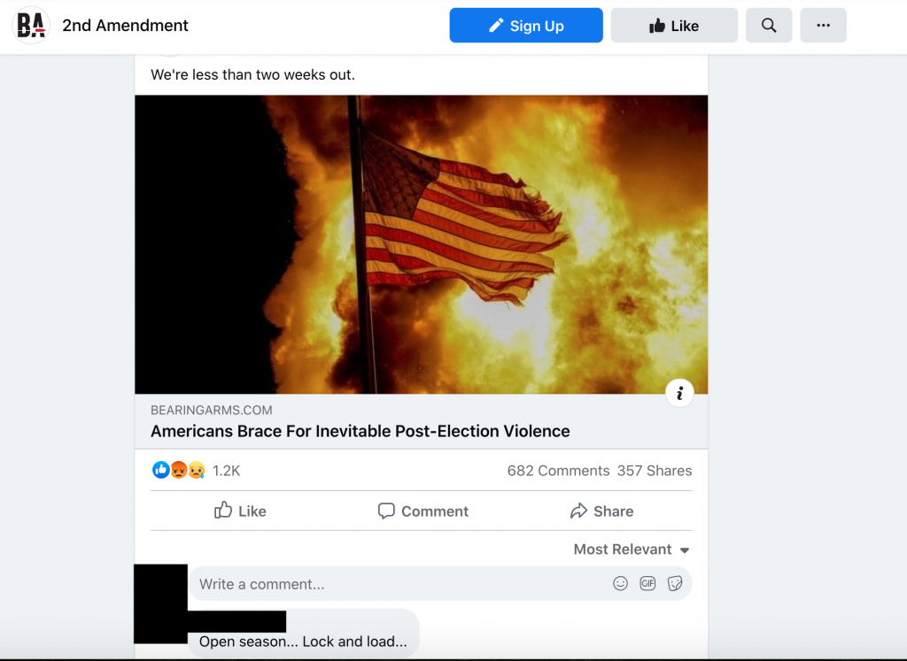Comments on Pro-gun Facebook pages predicting post-election violence