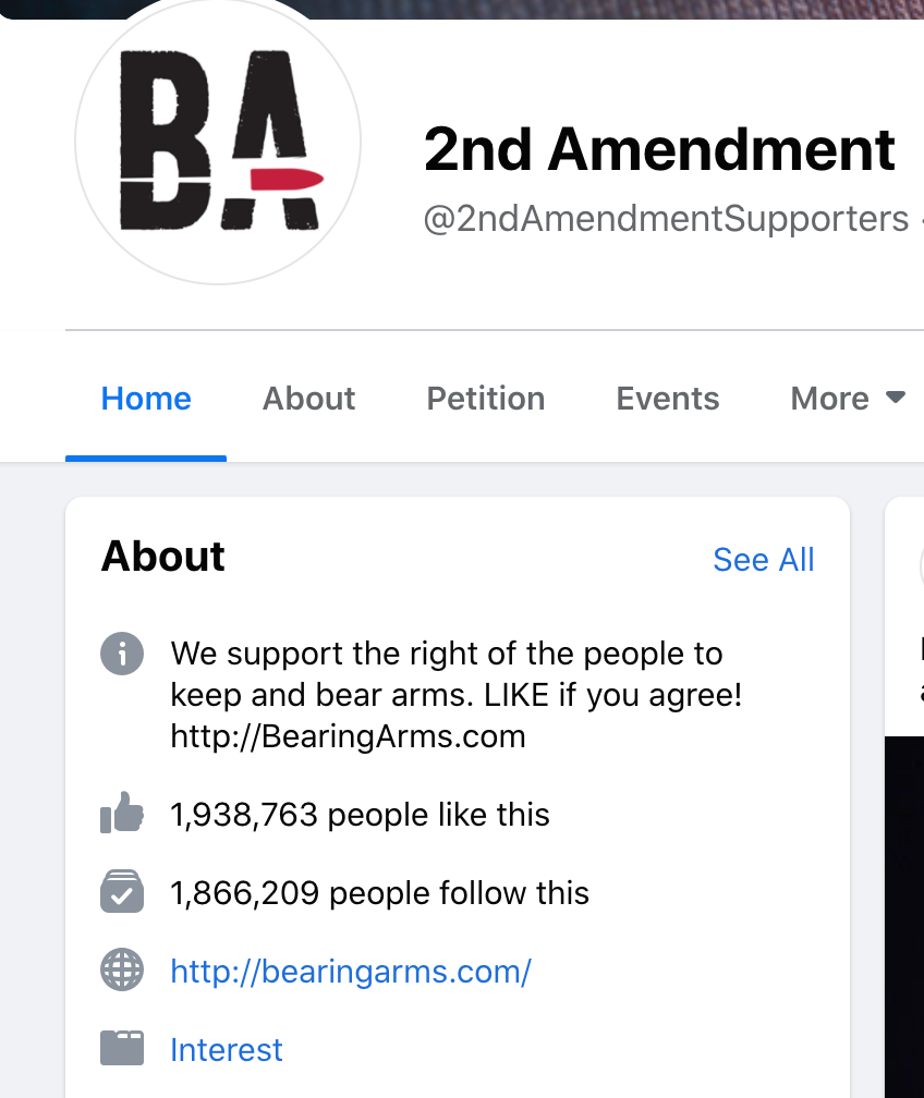 Bearing Arms Facebook page followers