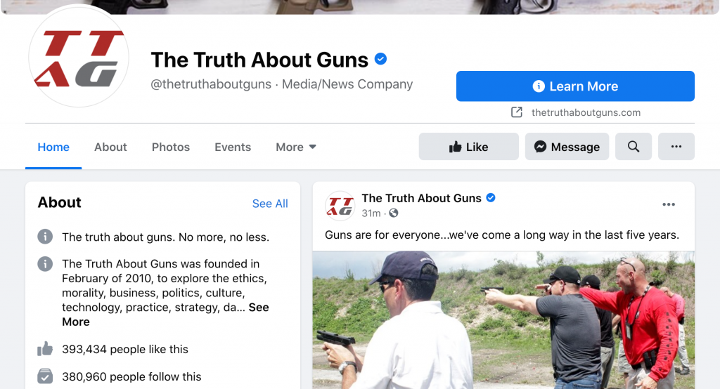 The Truth About Guns Facebook page followers