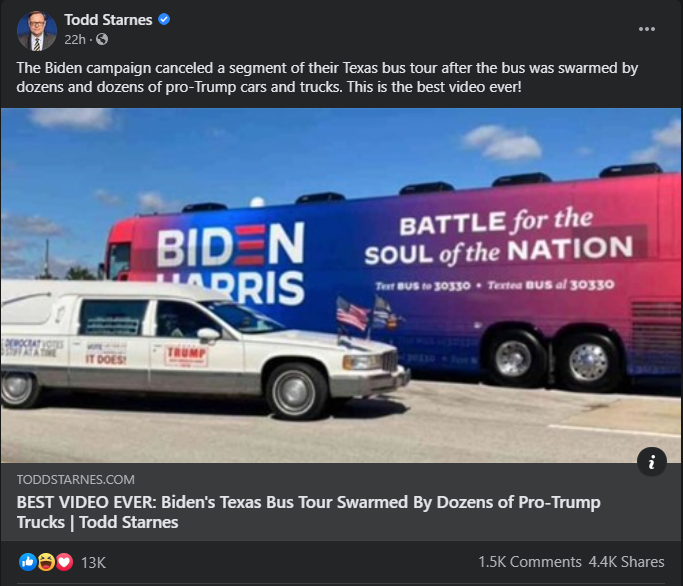The Biden campaign canceled a segment of their Texas bus tour after the bus was swarmed by dozens and dozens of pro-Trump cars and trucks. This is the best video ever!