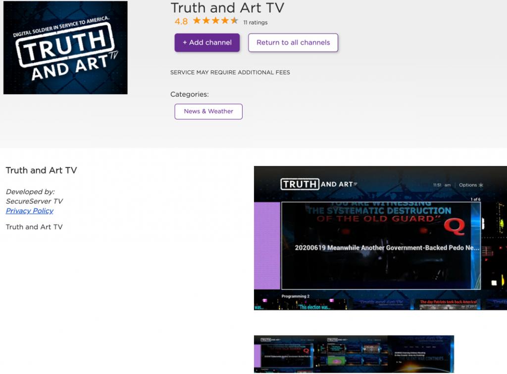 Truth and Art TV Roku QAnon