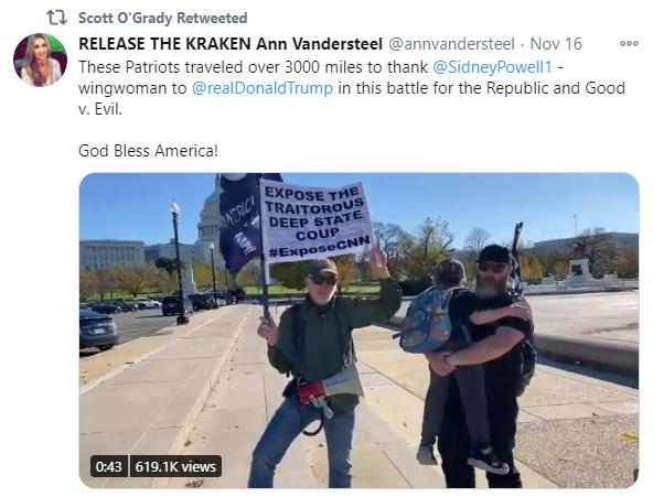 An image of Scott O'Grady's deep state retweet
