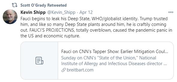 Scott O'Grady Fauci deep state retweet