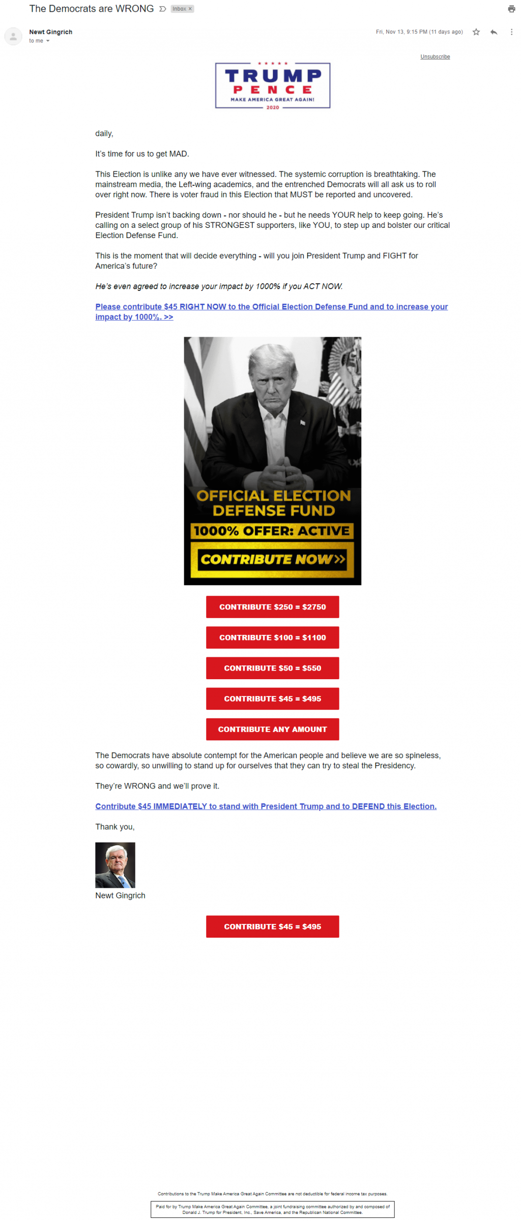 An image of Newt Gingrich's election grifters email