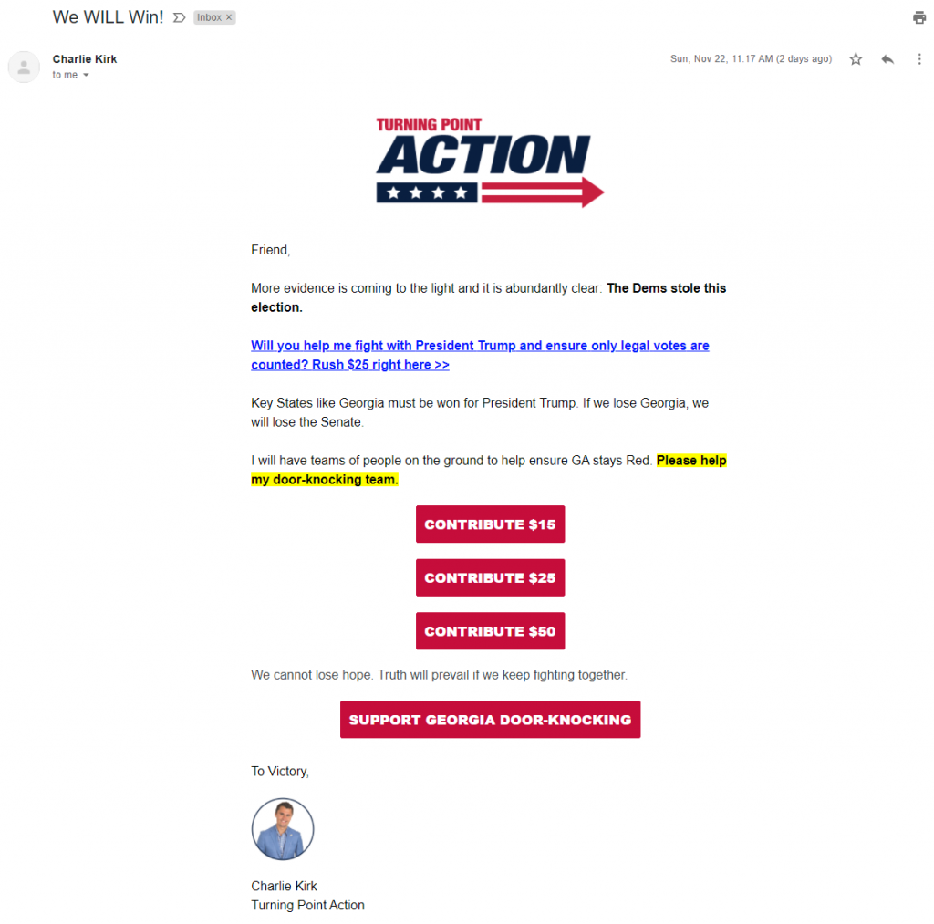 An image of Charlie Kirk's election grifters email