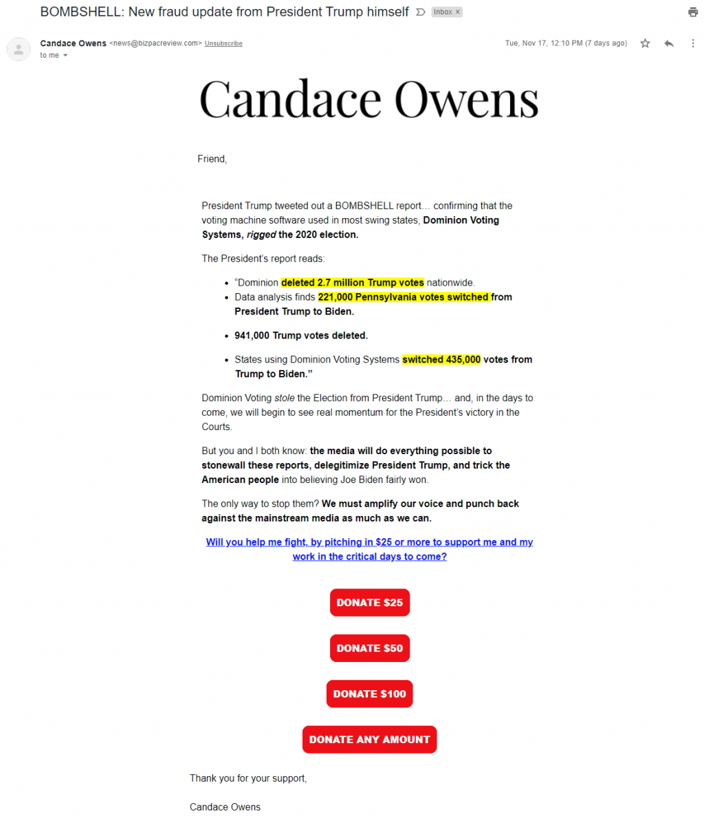 An image of Candace Owens' election grifters email