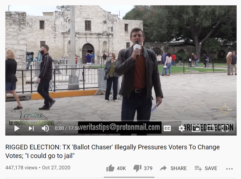 Project Veritas first TX ballot chaser video 10/27