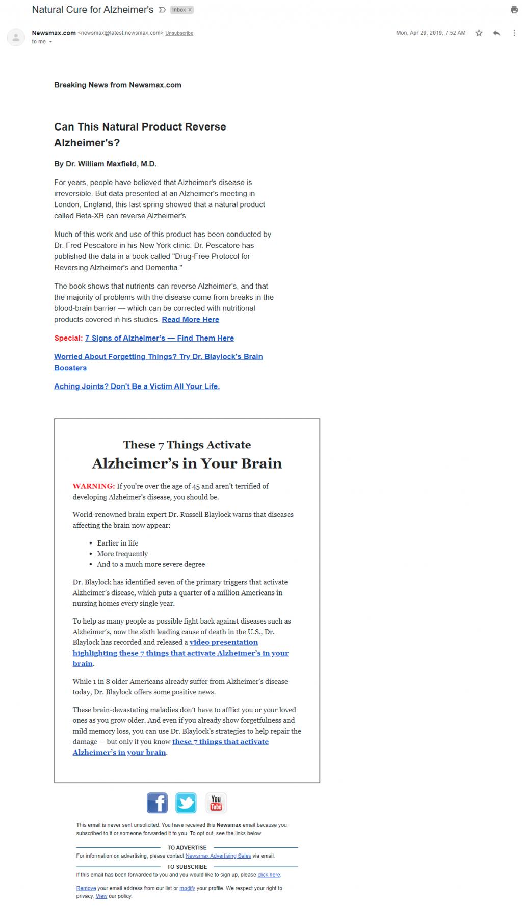 Newsmax's April 2019 Alzheimer's email false claim