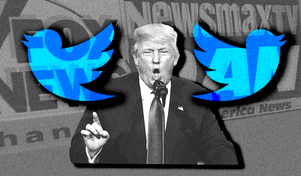 Trump with the logos for Twitter, Fox, OAN, and Newsmax