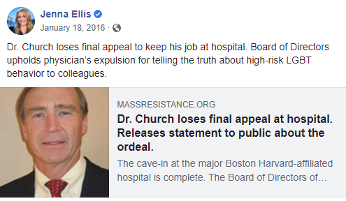 "An image of Jenna Ellis on Facebook: ""Board of Directors upholds physician's expulsion for telling the truth about high-risk LGBT behavior to colleagues."""