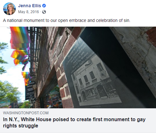"An image of Jenna Ellis on Facebook: ""A national monument to our open embrace and celebration of sin."""