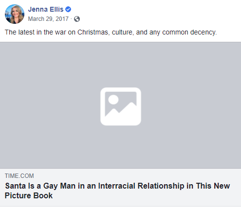 An image of Jenna Ellis on Facebook about Santa