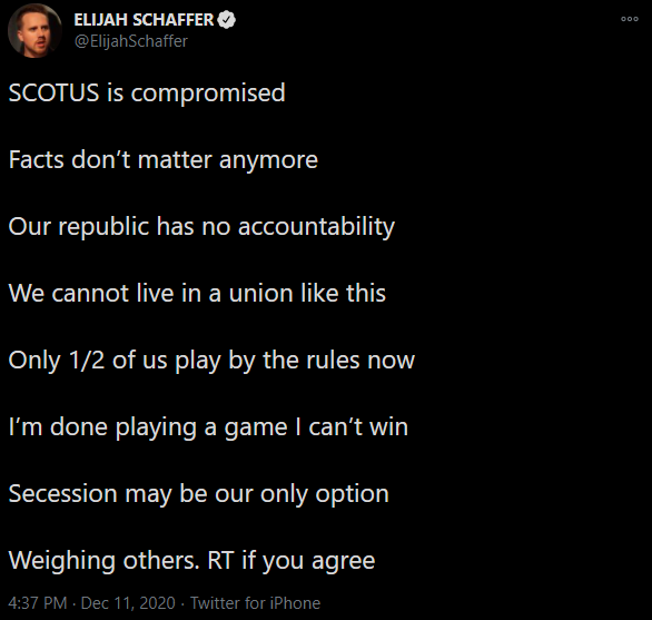 "Blaze TV host Elijah Schaffer: ""SCOTUS is compromised Facts don't matter anymore Our republic has no accountability We cannot live in a union like this Only 1/2 of us play by the rules now I'm done playing a game I can't win Secession may be our only option Weighing others. RT if you agree"""