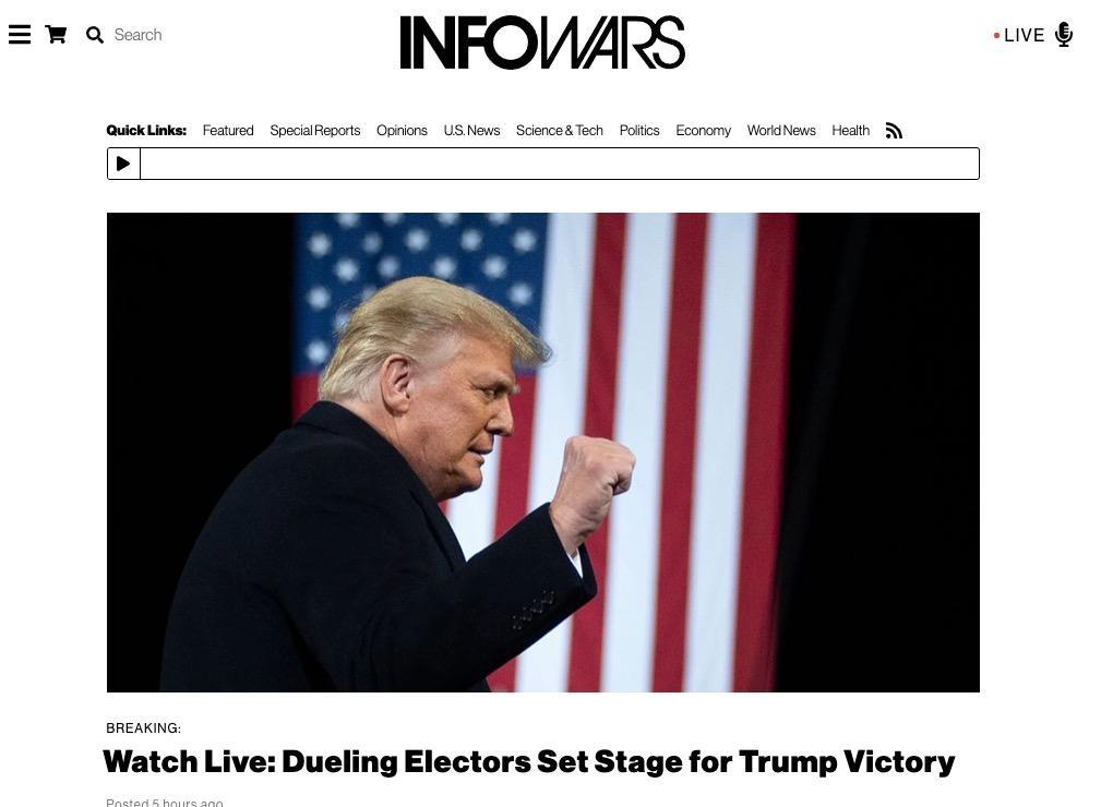 Infowars dueling electors Trump victory