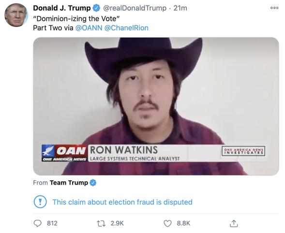 Ron Watkins Trump tweet
