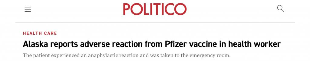 "Politico: ""Alaska reports adverse reaction from Pfizer vaccine in health worker"""