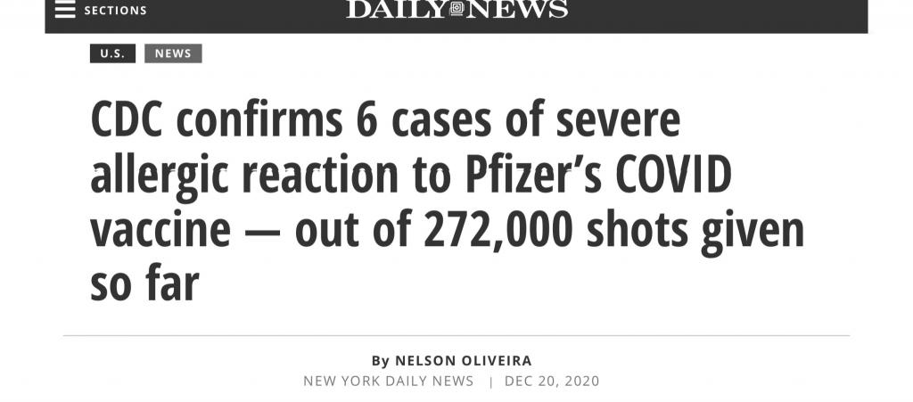 New York Daily News: CDC confirms 6 cases of severe allergic reaction to Pfizer's COVID vaccine — out of 272,000 shots given so far""